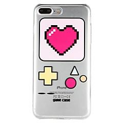 Недорогие Кейсы для iPhone 6 Plus-Кейс для Назначение Apple iPhone 6 iPhone 7 Полупрозрачный С узором Рельефный Кейс на заднюю панель С сердцем Геометрический рисунок