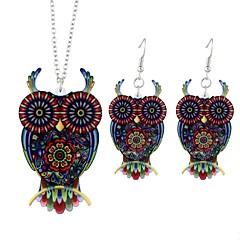 abordables Juegos de Joyería-Mujer Conjunto de joyas - Búho, Animal damas, Simple, Moda Incluir Pendientes colgantes Collares con colgantes Rojo Para Ceremonia Noche