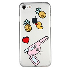 Недорогие Кейсы для iPhone 7 Plus-Кейс для Назначение Apple iPhone 6 iPhone 7 Полупрозрачный С узором Рельефный Кейс на заднюю панель Фрукты Мультипликация Животное Мягкий