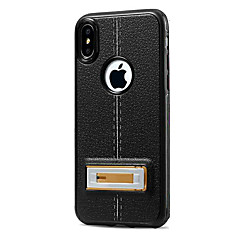 Недорогие Кейсы для iPhone 7 Plus-Кейс для Назначение Apple iPhone X iPhone 8 Защита от удара со стендом Кейс на заднюю панель Сплошной цвет Твердый Кожа PU для iPhone X