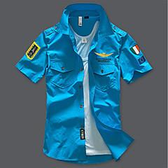 저렴한 남성 셔츠-남성용 솔리드 스프레드 카라 슬림 베이직 - 셔츠, 밀리터리