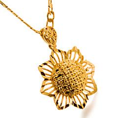 お買い得  ネックレス-女性用 ペンダントネックレス  -  ゴールドメッキ フラワー レディース, ファッション ゴールド ネックレス ジュエリー 1 用途 誕生日, 贈り物