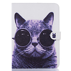 Недорогие Чехлы и кейсы для Galaxy Tab 3 Lite-Кейс для Назначение SSamsung Galaxy Бумажник для карт Кошелек со стендом С узором Авто Режим сна / Пробуждение Чехол Кот Твердый Кожа PU