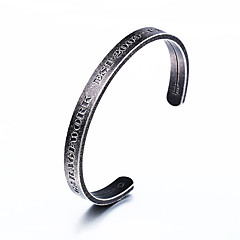 Недорогие Браслеты-Муж. Браслет цельное кольцо - Нержавеющая сталь Хип-хоп Браслеты Черный Назначение Повседневные