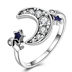お買い得  指輪-女性用 バンドリング - 純銀製, ジルコン, ゴールドメッキ MOON クラシック, ヴィンテージ 調整可 シルバー 用途 日常 / ワーク