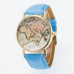 preiswerte Herrenuhren-Herrn / Damen Modeuhr Chinesisch Armbanduhren für den Alltag Leder Band Retro / Weltkarte Muster Schwarz / Blau / Rot
