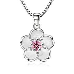 preiswerte Halsketten-Damen Kubikzirkonia Anhängerketten - Zirkon Blume Süß, Modisch Silber Modische Halsketten Für Party, Alltag