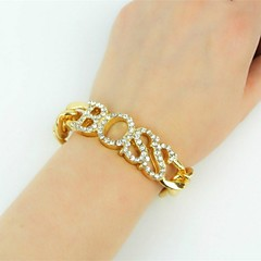 cheap Bracelets-Women's Rhinestone Imitation Diamond Oversized Chain Bracelet Bracelet - Classic Oversized Fashion Irregular Gold Silver Bracelet For