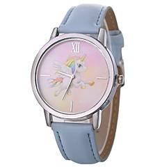 preiswerte Damenuhren-Damen Sportuhr Quartz Armbanduhren für den Alltag Leder Band Analog Freizeit Zeichentrick Schwarz / Silber / Rot - Silber Hellblau Braun