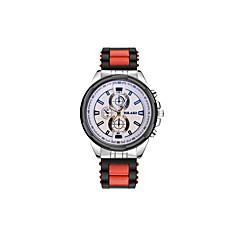 preiswerte Armbanduhren für Paare-Herrn Paar Armbanduhren für den Alltag Modeuhr Quartz Armbanduhren für den Alltag Silikon Band Analog Luxus Freizeit Schwarz / Silber - Grau Gelb Rot