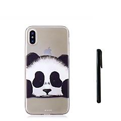 Недорогие Кейсы для iPhone 7 Plus-Кейс для Назначение Apple iPhone X iPhone 8 Plus Полупрозрачный Кейс на заднюю панель Панда Животное Мягкий ТПУ для iPhone X iPhone 8