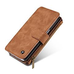 Недорогие Чехлы и кейсы для Galaxy Note 5-Кейс для Назначение SSamsung Galaxy Note 8 / Note 5 Кошелек / Бумажник для карт Чехол Однотонный Твердый Настоящая кожа для Note 8 / Note 5