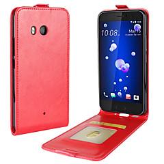 Недорогие Чехлы и кейсы для HTC-Кейс для Назначение HTC U11 Life U11 Бумажник для карт Флип Чехол Сплошной цвет Мягкий Кожа PU для HTC U11 HTC U11 Life HTC U11 plus