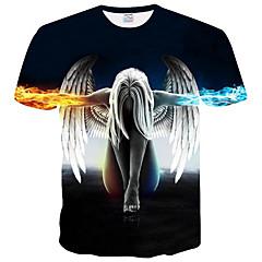 hesapli Erkek Tişörtleri ve Atletleri-Erkek Yuvarlak Yaka Tişört Desen, Geometrik Temel / Kısa Kollu
