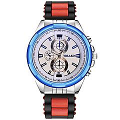 preiswerte Armbanduhren für Paare-Herrn Paar Armbanduhren für den Alltag Sportuhr Modeuhr Quartz Armbanduhren für den Alltag Silikon Band Analog Luxus Freizeit Schwarz / Silber - Grau Rot Blau