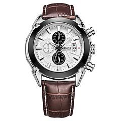 お買い得  メンズ腕時計-BAOGELA 男性用 カジュアルウォッチ ファッションウォッチ クォーツ 30 m 3タイムゾーン ストップウォッチ 本革 バンド ハンズ カジュアル ファッション ブラック / ブラウン - ブラック Brown ブラウンブラック 2年 電池寿命