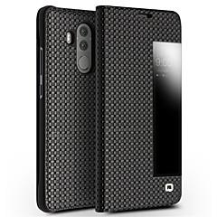 Недорогие Чехлы и кейсы для Huawei Mate-Кейс для Назначение Huawei Mate 10 Защита от удара с окошком Флип Чехол Сплошной цвет Твердый Настоящая кожа для Mate 10