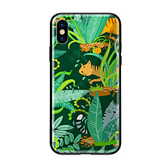 Недорогие Кейсы для iPhone 5-Кейс для Назначение Apple iPhone X iPhone 8 С узором Кейс на заднюю панель Растения Кот Твердый Закаленное стекло для iPhone X iPhone 8