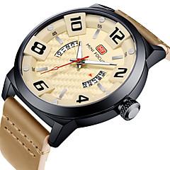 お買い得  メンズ腕時計-MINI FOCUS 男性用 カジュアルウォッチ 日本産 クォーツ 本革 ベルト素材 ブラック / ブルー / ブラウン カレンダー 夜光計 カジュアルウォッチ ハンズ ファッション - コーヒー ブルー カーキ色