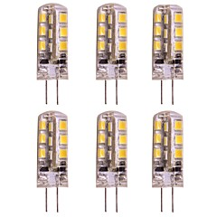 abordables Ampoules LED-WeiXuan 6pcs 2W 160lm lm G4 LED à Double Broches T 24pcs diodes électroluminescentes SMD 2835 Blanc Chaud Blanc Froid DC 12V