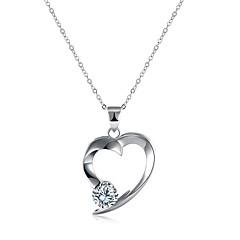 preiswerte Halsketten-Damen Kubikzirkonia Anhängerketten - S925 Sterling Silber Herz damas, Modisch Silber 45+5 cm Modische Halsketten Schmuck 1 Für Geschenk, Alltag