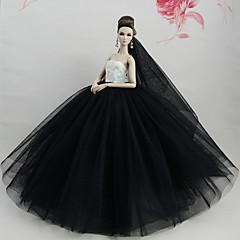 abordables Ropa para Barbies-Vestidos Vestir por Muñeca Barbie  Blanco/Negro Tul Tela de Encaje Mezcla de Seda y Algodón Vestido por Chica de muñeca de juguete