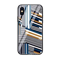 Недорогие Кейсы для iPhone 5-Кейс для Назначение Apple iPhone X / iPhone 8 С узором Кейс на заднюю панель Геометрический рисунок Твердый Закаленное стекло для iPhone X / iPhone 8 Pluss / iPhone 8