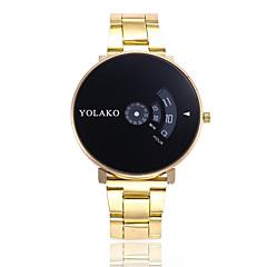 preiswerte Damenuhren-Herrn Damen Quartz Modeuhr Armbanduhren für den Alltag Chinesisch Großes Ziffernblatt Edelstahl Band Modisch Silber Gold
