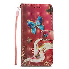Недорогие Кейсы для iPhone 7-Кейс для Назначение Apple iPhone X iPhone 8 Plus Бумажник для карт Кошелек со стендом Флип С узором Чехол Бабочка Твердый Кожа PU для