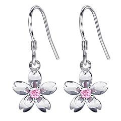 preiswerte Ohrringe-Damen Kubikzirkonia Ohrstecker - Zirkon Blume Süß, Modisch Weiß / Rosa Für Alltag / Verabredung