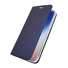 Недорогие Кейсы для iPhone 5-Кейс для Назначение Apple iPhone X iPhone 8 Plus Бумажник для карт со стендом Флип Магнитный Чехол Однотонный Твердый Кожа PU для iPhone