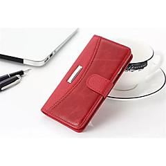 Недорогие Кейсы для iPhone 7 Plus-Кейс для Назначение Apple iPhone X iPhone 8 Бумажник для карт Кошелек Флип Чехол Однотонный Твердый Настоящая кожа для iPhone X iPhone 8
