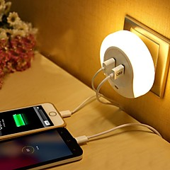 お買い得  LED アイデアライト-LEDナイトライト 温白色 Smart デュアルl USB 電話充電器 ライトコントロール 110-120V 220-240V