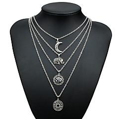preiswerte Halsketten-Mehrschichtig Anhängerketten / Layered Ketten - Elefant, MOON Retro, Mehrlagig Silber 55 cm Modische Halsketten Schmuck Für Geschenk, Strasse