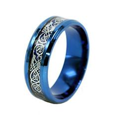 お買い得  指輪-男性用 バンドリング ステートメントリング - チタン鋼 ドラゴン 欧風 6 / 7 / 8 / 9 / 10 ゴールド / ブラック / ブルー 用途 日常