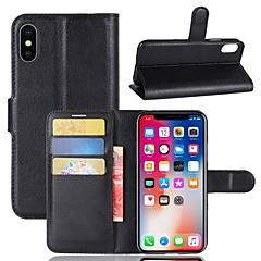 Недорогие Кейсы для iPhone 7 Plus-Кейс для Назначение Apple iPhone X iPhone 8 Plus Бумажник для карт Кошелек со стендом Чехол Однотонный Твердый Кожа PU для iPhone X