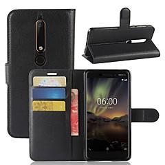 Недорогие Чехлы и кейсы для Nokia-Кейс для Назначение Nokia Nokia 7 Plus / Nokia 6 2018 Кошелек / Бумажник для карт / Флип Чехол Однотонный Твердый Кожа PU для Nokia 9 / Nokia 8 / Nokia 7