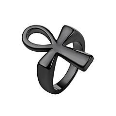 お買い得  指輪-男性用 ステンレス鋼 十字架 ナックリリング - ファッション ゴールド / ブラック / シルバー リング 用途 日常