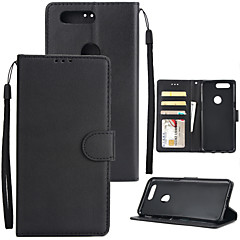 お買い得  その他のケース-ケース 用途 OnePlus 5 / OnePlus 5T ウォレット / カードホルダー / 耐衝撃 フルボディーケース ソリッド ハード PUレザー のために One Plus 5 / OnePlus 5T