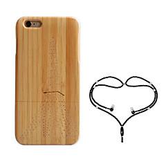 Недорогие Кейсы для iPhone-Кейс для Назначение Apple iPhone 6 iPhone 6 Plus Защита от удара Кейс на заднюю панель Эйфелева башня Твердый Бамбук для iPhone 6s Plus