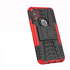 Недорогие Кейсы для iPhone-Кейс для Назначение Apple iPhone X iPhone 8 Plus Защита от удара со стендом броня Кейс на заднюю панель Плитка броня Твердый ПК для