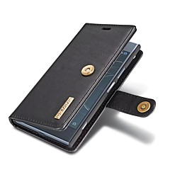Недорогие Чехлы и кейсы для Sony-Кейс для Назначение Sony Xperia XZ1 Бумажник для карт Кошелек со стендом Флип Чехол Однотонный Твердый Настоящая кожа для Sony Xperia XZ1