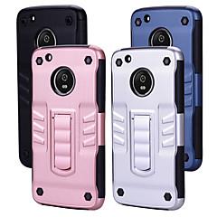 Недорогие Чехлы и кейсы для Motorola-Кейс для Назначение Motorola G5 Защита от удара со стендом Кейс на заднюю панель Однотонный Твердый ПК для LG G5