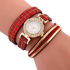 お買い得  レディース腕時計-女性用 ブレスレットウォッチ 中国 カジュアルウォッチ / 模造ダイヤモンド PU バンド 光沢タイプ / ボヘミアンスタイル ブラック / 白 / ブルー / 1年間