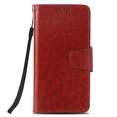 Недорогие Чехлы и кейсы для LG-Кейс для Назначение LG K8 (2017) / K10 (2017) Бумажник для карт / Кошелек / со стендом Чехол Однотонный Твердый Кожа PU для LG X Style /