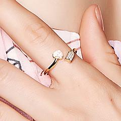 preiswerte Ringe-Damen Kubikzirkonia Öffne den Ring - 18K vergoldet, S925 Sterling Silber Herz Zierlich, Koreanisch Verstellbar Gold Für Verabredung Valentinstag