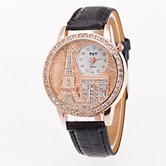 preiswerte Damenuhren-Damen Armbanduhr Chinesisch Großes Ziffernblatt / Eiffelturm Leder Band Freizeit / Modisch Schwarz / Weiß / Blau