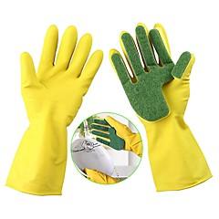abordables Limpieza para la Cocina-1 par de guantes de limpieza de lavado plato de cocina esponja dedos de goma del hogar
