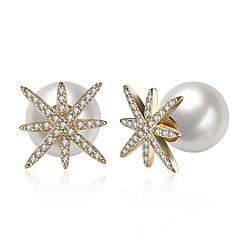preiswerte Ohrringe-Damen Kubikzirkonia Ohrstecker - Perle, 18K Gold, Süßwasserperle Modisch Weiß / Champagner Für Geschenk / Alltag