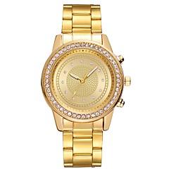お買い得  レディース腕時計-女性用 クォーツ ドレスウォッチ 中国 クロノグラフ付き 大きめ文字盤 光る ステンレス バンド 光沢タイプ クリエイティブ ゴールド